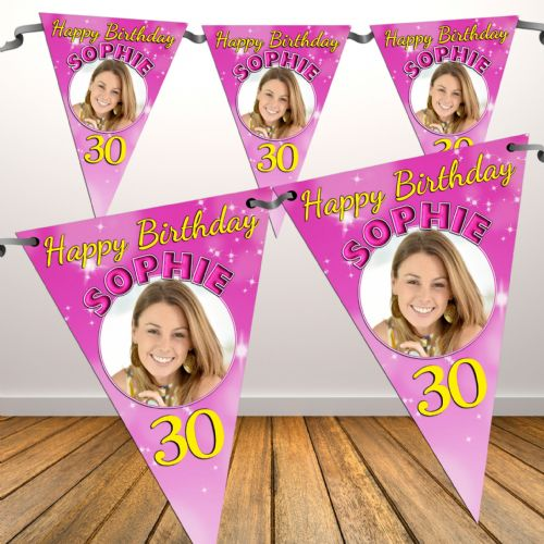 Personalised Pink Sparkle Happy Birthday Flag PHOTO Bunting Banner - N40 ANY AGE